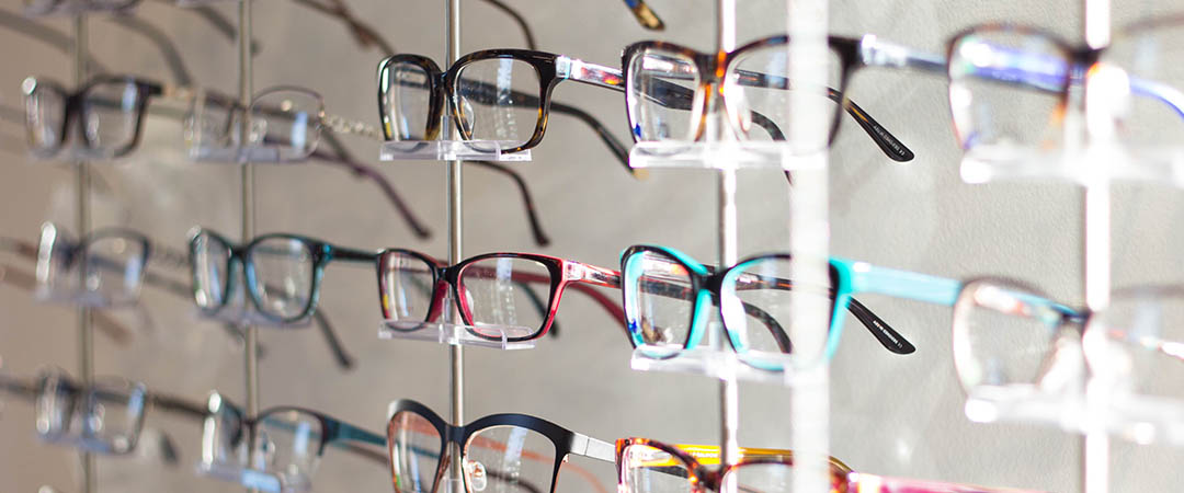 Rows of eyeglasses in an optical